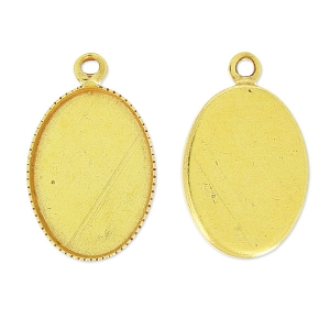 Pendant cabochon setting oval-shaped 14x10mm Gold tone