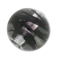 Striated Murano round  8mm Black x1