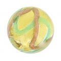Striated Murano round 10mm gold foiled Aventurine/Teal x1