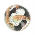 Striated Murano round  8mm Silver foil Aventurine/black x1