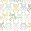 Percale Fabric Christel G Design - Mr and Mrs Owl in Scandinavia x10cm