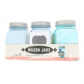 Set of 3 Mason Jars in glass 16 oz blue shade