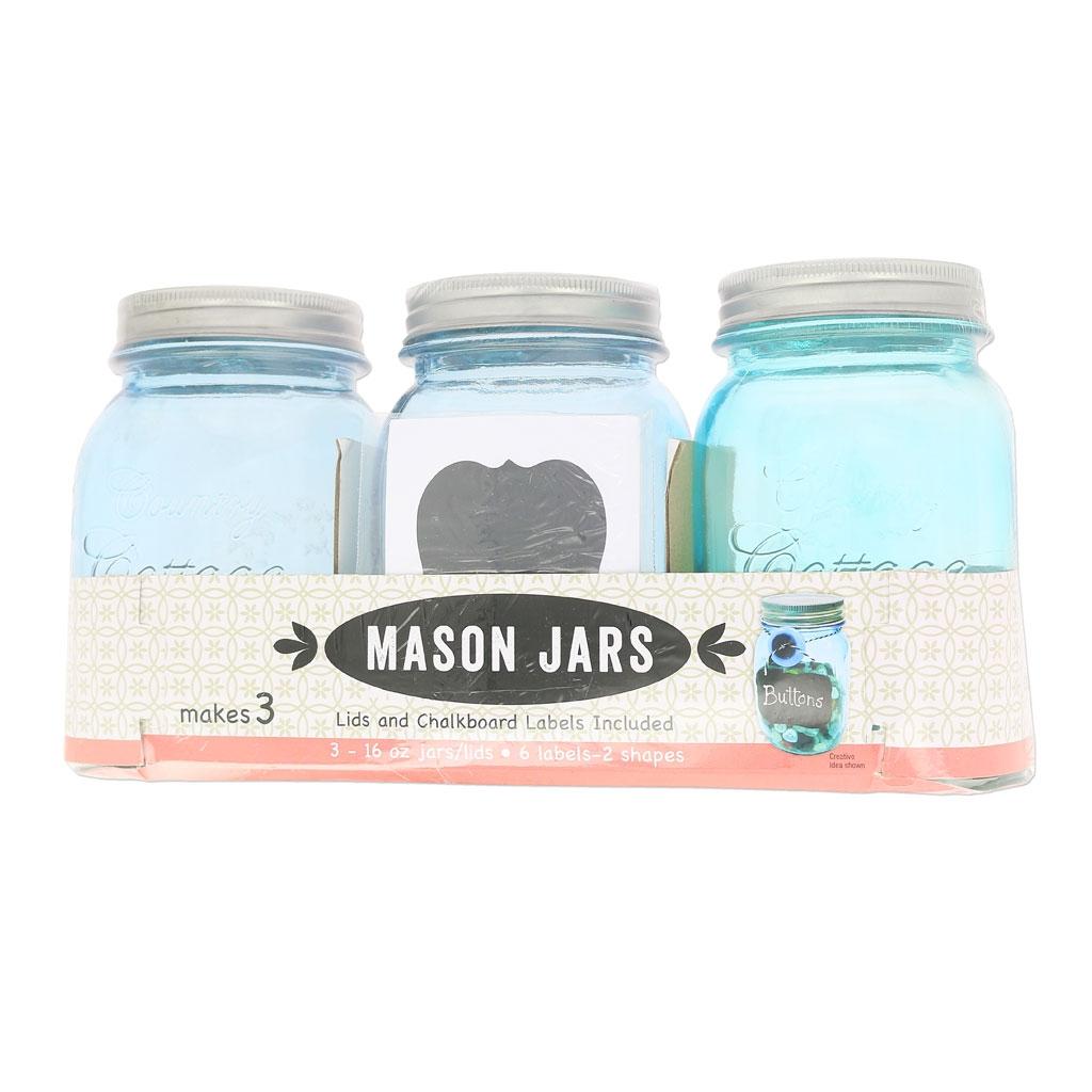 set of 3 mason jars in glass 16 oz blue perles co. Black Bedroom Furniture Sets. Home Design Ideas