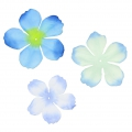 Set of 40 flowers in fabric Begonia Light Blue