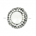 Round pearl plasticine and strass 15 mm White/Crystal/Jet Hem. x1