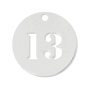 Number 13 Sterling silver charm 12mm x1