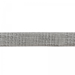 Double leather lace glitter varnish grid pattern 5 mm Grey x 50cm