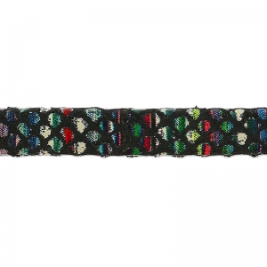 Leather lace dual stripes and diamonds 5 mm Black x 50cm