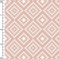 Fabric double cotton gauze Nordic Losanges Pink Coral x10cm