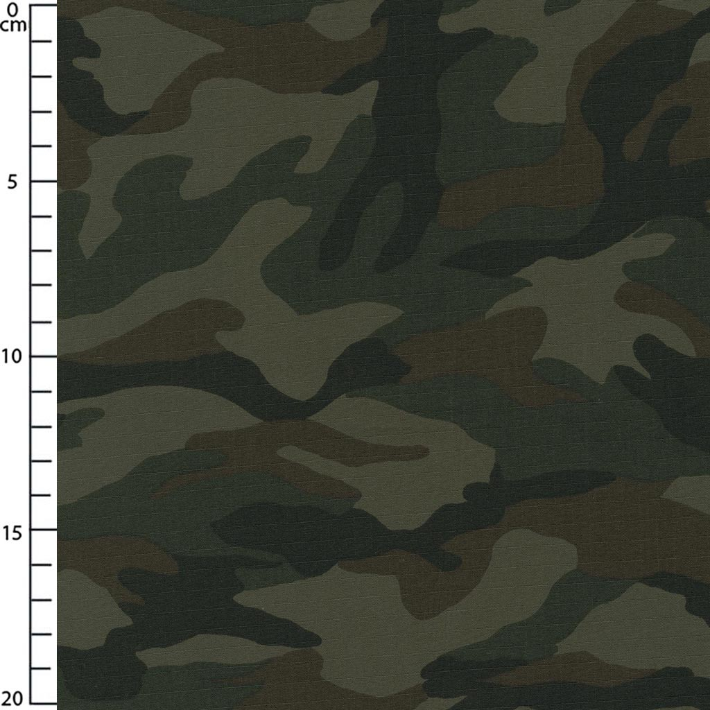 ripstop cotton fabric camouflage brown x10cm perles co
