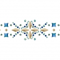 Hotfix frieze rhinestones pattern 18,5x3 cm Met. Light Gold/Berm. Blue/Irid. Green