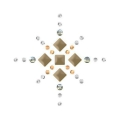 Hotfix star rhinestones pattern 3 cm Crystal/Met. Light Gold/Golden Shadow