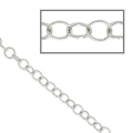 Chain round links fine 3mm silver tone x 1m