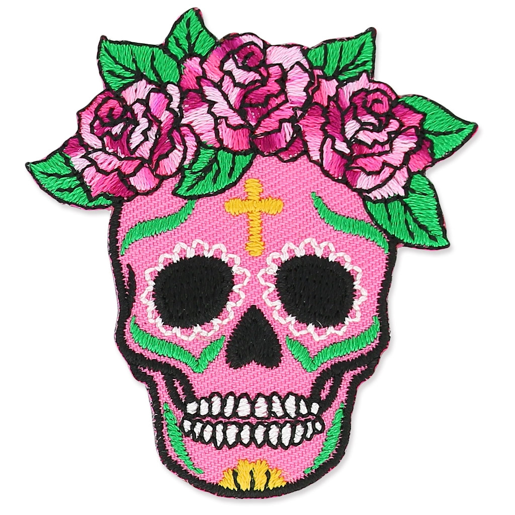 Iron On Badge Calavera 50x54mm Mexican Skull Rose X1 Perles Co