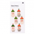 Sheet of 6 3D stickers 7x15 cm Santa Claus Red/Green/Gold tone