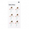 Sheet of 6 3D stickers 7x15 cm Snowman White/Mint