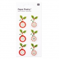 Sheet of 6 3D stickers 7x15 cm Christmas Decoration Red/Mint