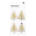 Sheet of 4 3D stickers 7x15 cm Christmas Tree Silver/Gold tone