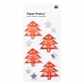 Sheet of 10 3D stickers 7x15 cm Stars and Firs Red/Silver