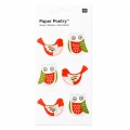 Sheet of 6 3D stickers 7x15 cm Owl/Dove Red/Mint