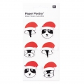 Sheet of 6 3D stickers 7x15 cm Christmas wooly hat animals Black/Red
