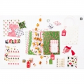 Sheet of 6 3D stickers 7x15 cm Christmas wooly hat animals Pink/Red
