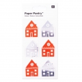Sheet of 6 3D stickers 7x15 cm House Red/Silver