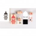 Set of 4 wooden stamps with inkpad  - Puristic Christmas Santa Claus