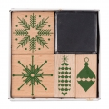Set of 4 wooden stamps with inkpad Puristic Christmas Snowflakes/Christmas Decoration