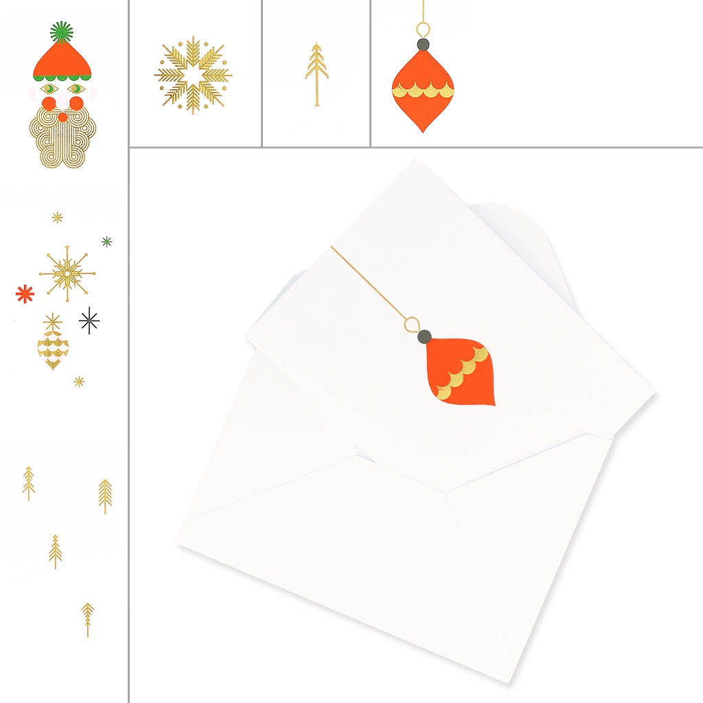 set of cards and envelopes a7 size paper poetry puristic christmas x