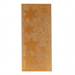 Sheet of stickers in relief Peel Off's 10x23 cm Coppery Stars