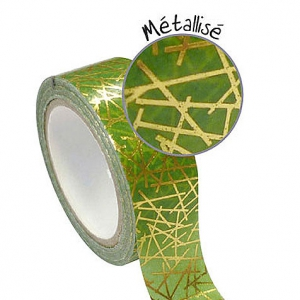 Adhesive tape 15 mm Geometrical Green/Gold Metallized x10m