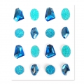 Set of 16 adhesive resin gemstones - Jewels - Blue