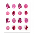 Set of 16 adhesive resin gemstones - Jewels - Fuchsia