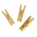 Mini Wooden Clothes Pins For House decoration 30 mm Gold x24