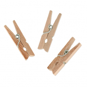 Mini Wooden Clothes Pins For House decoration 30 mm Natural x24