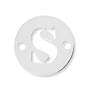 Round spacer 2 holes letter S 8.5 mm Sterling Silver 925 x1