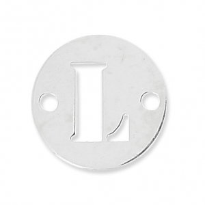 Round spacer 2 holes letter L 8.5 mm Sterling Silver 925 x1