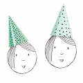 Set of 8 kids party hats 20 cm Graphic Blue