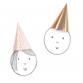 Set of 8 kids party hats 20 cm Graphic Pink