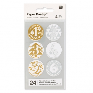 Stickers by Paper Poetry Advent calendar 28 mm Silver/Golden x24