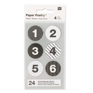 Stickers by Paper Poetry Advent calendar 28 mm White/Black x24