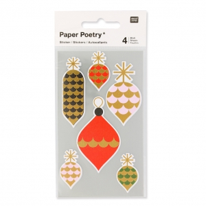 Stickers by Paper Poetry Christmas Decorations 30 à 60 mm Pink/Golden x24
