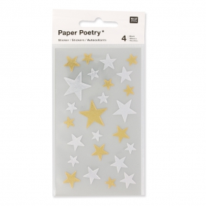 Stickers by Paper Poetry Stars 10 à 25 mm Silver/Golden x100
