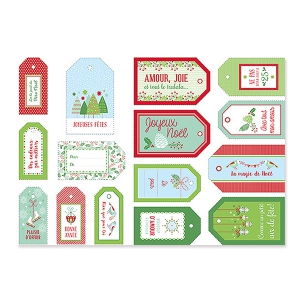 Set of gifts labels for Christmas 6-8 cm Red/Green x15