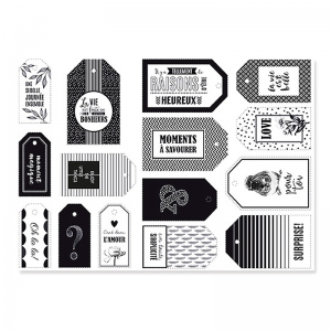 Set of gifts labels for Christmas 6-8 cm White/Black x15