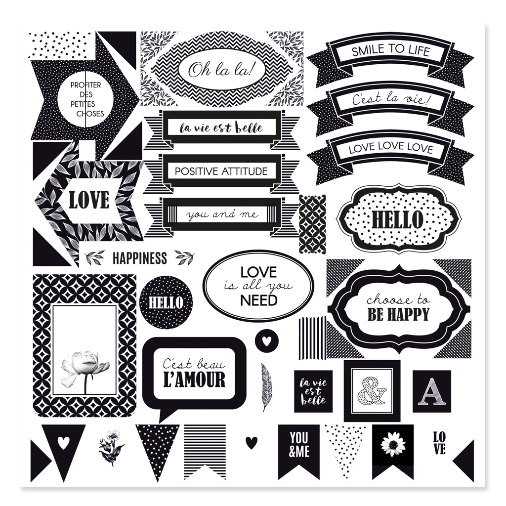 Kit Pack Scrapbooking Black White Paper Sheets Stickers And Stam