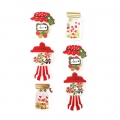 3D Adhesive Stickers Sheet 4-6 cm Christmas Candy Red/Golden