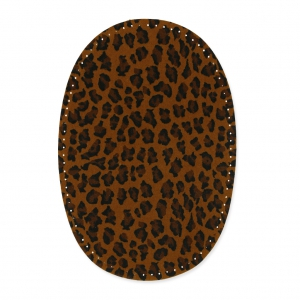 Iron-on elbow/knee pads leopard pattern 13,5 cm Brown x2