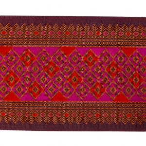 Jacquard Braid diamond pattern 100 mm Violet/Red x50cm
